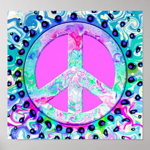 Abrégé sur psychédélique signe de paix affiche