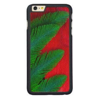 Abrégé sur rouge et vert plume coque en érable iPhone 6 plus