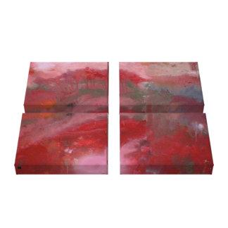 Abrégé sur rouge sur la toile - quadruple