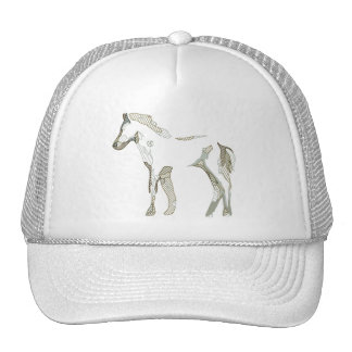 Abstract horse drawing in grey and beige tones - casquette trucker