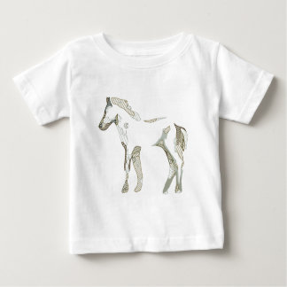 Abstract horse drawing in grey and beige tones - t-shirt pour bébé