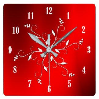Accent blanc rouge impressionnant de nombres horloge carrée