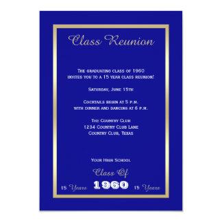 Accent bleu classique d'or de la Réunion de classe Carton D'invitation 12,7 Cm X 17,78 Cm