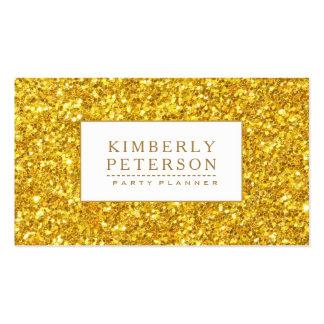 Accent brillant de blanc de scintillement d'or carte de visite standard