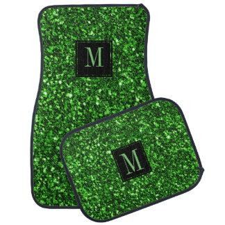 Accent vert moderne de noir de scintillement tapis de voiture