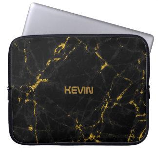 Accents en pierre de marbre noirs d'or de texture housse pour ordinateur portable