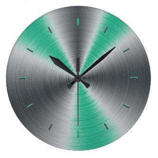 Accents verts de jungle monochromatiques grande horloge ronde