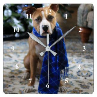 Acclamation de vacances de chien de délivrance de horloge carrée