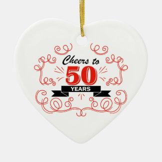 Acclamations à 50 ans ornement cœur en céramique