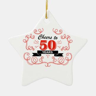 Acclamations à 50 ans ornement étoile en céramique
