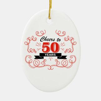 Acclamations à 50 ans ornement ovale en céramique