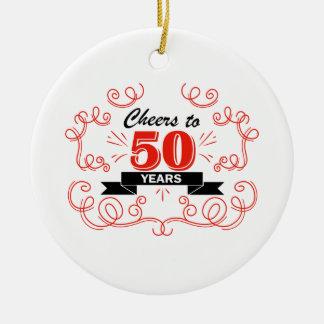 Acclamations à 50 ans ornement rond en céramique