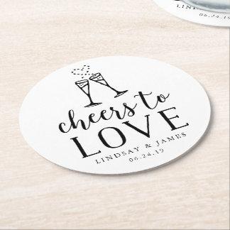Acclamations pour aimer épouser dessous-de-verre rond en papier
