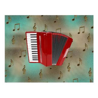 Accordéon rouge sur les notes musicales cartes postales