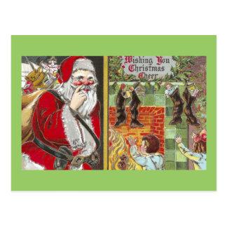 Accrocher désireux Père Noël d'enfants presque au Cartes Postales