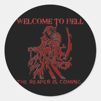 Accueil à l'enfer sticker rond