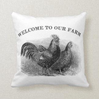 Accueil à notre coussin vintage de coq de poulet