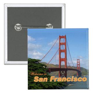 Accueil à San Francisco - golden gate bridge Badge Carré 5 Cm