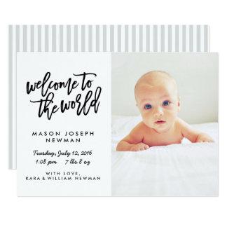 Accueil aux annonces modernes de naissance du carton d'invitation  12,7 cm x 17,78 cm