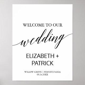 Accueil blanc et noir élégant de mariage de posters