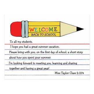 Accueil de nouveau à la carte postale de crayon