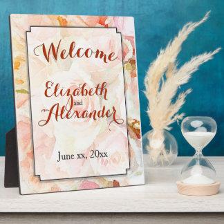 Accueil de roses de pêche de mariage d'aquarelle photo sur plaque