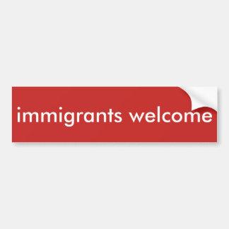 accueil d'immigrés autocollant pour voiture