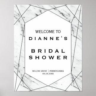 Accueil nuptiale de marbre blanc et noir de douche poster
