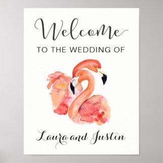 Accueil rose de mariage de plage de flamants poster