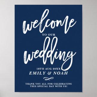Accueil rustique de mariage de lettrage de main de posters