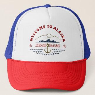 Accueil vers l'Alaska. Anchorage - logo de couleur Casquette
