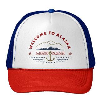 Accueil vers l'Alaska. Anchorage - logo de couleur Casquette Trucker
