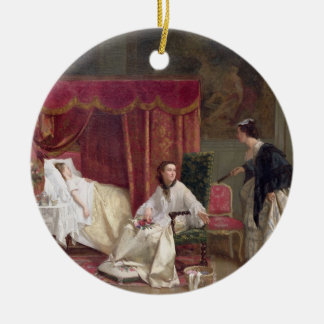 Accueillant le visiteur, 1867 (huile sur la toile) ornement rond en céramique