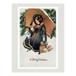 Achats vintages de Noël dans la neige Carte Postale