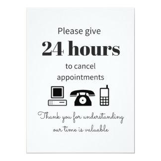 Achetez cette 24 politiques d'annulation d'heure carton d'invitation  16,51 cm x 22,22 cm
