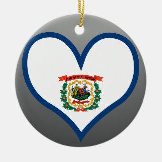 Achetez le drapeau de la Virginie Occidentale Ornement Rond En Céramique