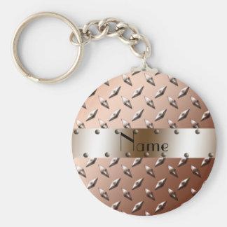 Acier brun nommé personnalisé de plat de diamant porte-clefs