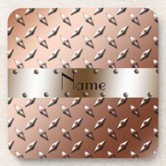 Acier brun nommé personnalisé de plat de diamant sous-bock