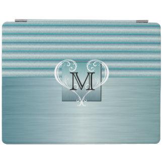 Acier élégant de brosse de turquoise de monogramme protection iPad