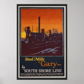 Aciéries d'affiche vintage de voyage de Gary India Poster