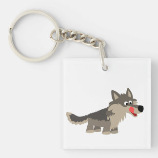 Acrylique affamé Keychain de loup de bande dessiné