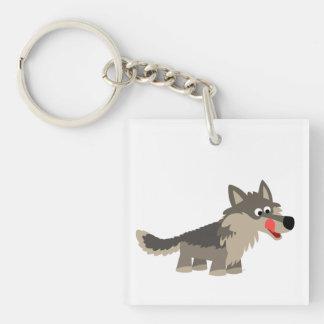 Acrylique affamé Keychain de loup de bande dessiné Porte-clef