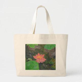 Acrylique sur la toile, fleur rose de nénuphar grand sac