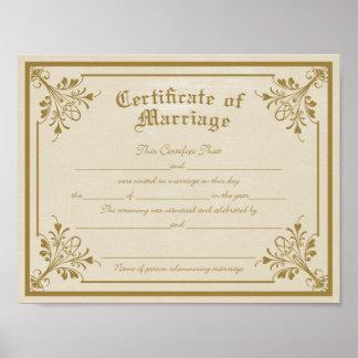 Acte de copie d'art de mariage posters
