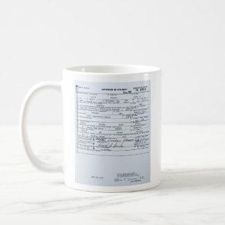 Acte de naissance original certifié de Barack Mug Blanc