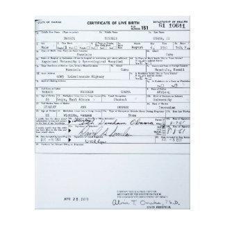 Acte de naissance original certifié de Barack Obam Impression Sur Toile