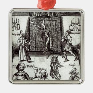 Acteurs comiques dans la représentation, 1662 ornement carré argenté