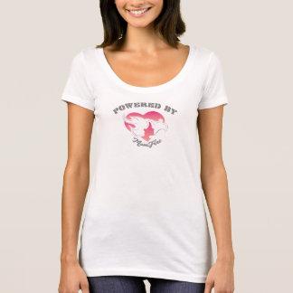 Actionné par blanc de T-shirt de cou de scoop de