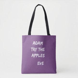 Adam, essayent les pommes. Sac fourre-tout à