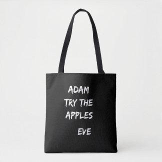 Adam, essayent les pommes. Sac fourre-tout noir à